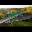 Żelazny szlak rowerowy – budowa ścieżek rowerowych w ramach zagospodarowania ciągów kolejowych… w Jastrzębiu –Zdroju. Widok z lotu ptaka. W centralnej części dwupoziomowe skrzyżowanie. Powyżej utwardz