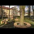 Zagospodarowanie podwórka pomiędzy ul. Biblioteczną, Batorego i Bukową w Tychach. Widok na drewniane słupki różnej wysokości wkopane w powierzchnię trawiastą wśród drzew. Na pierwszym planie drzewo z